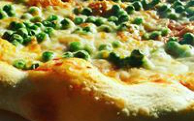 Homemade pizza with peas